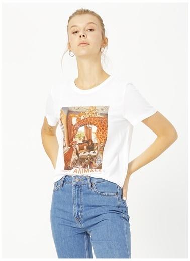 Only Only Koyu Beyaz Baskılı T-Shirt Beyaz